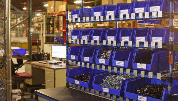 vmi flow racks with bins